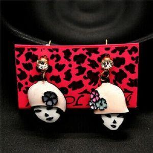 Betsey Johnson Cute Pink Enamel Flower Hat Earring